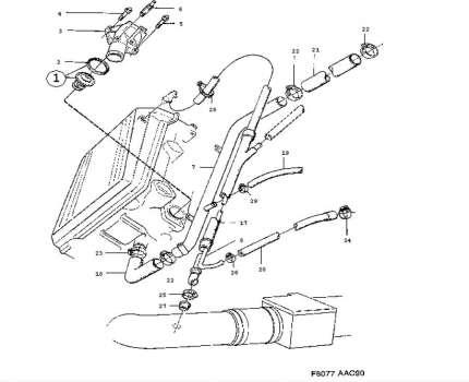Heater Hose (head cylinder-heating pipe) saab 900 16